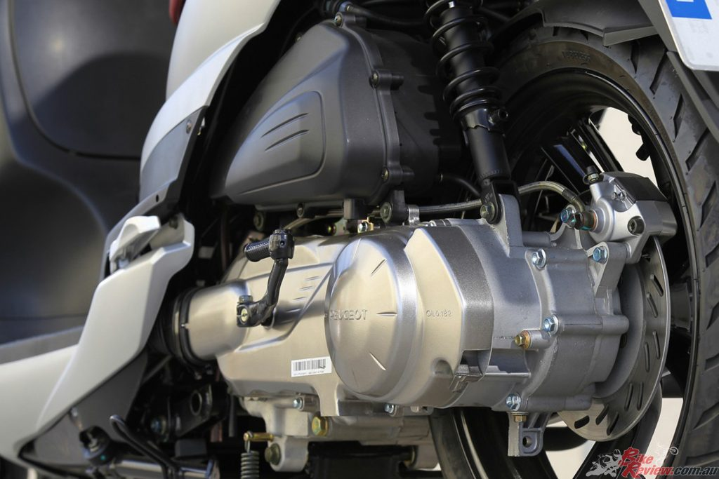 A 125cc fuel injected four stroke engine is claimed to be both powerful and economical.
