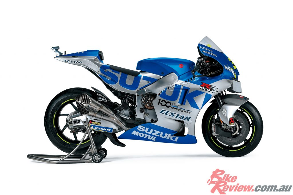 The ECSTAR GSX-RR MotoGP machine features a special retro-inspired livery for the 2020 season.