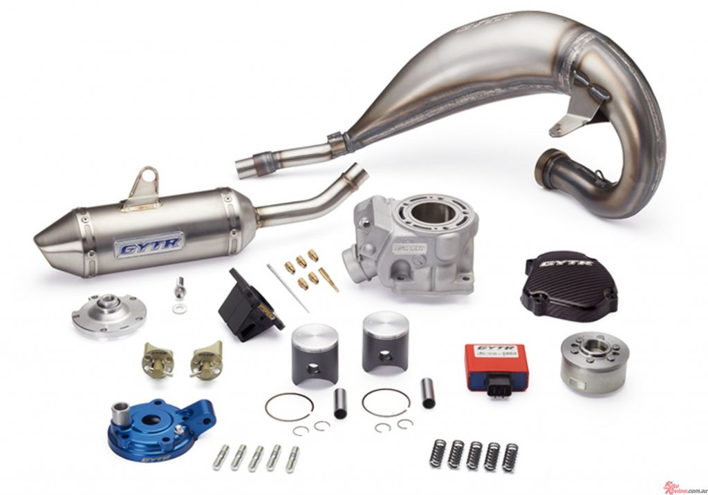The kit is packed with GTYR gear, including cylinder, head, two pistons, an exhaust pipe and silencer, and more!