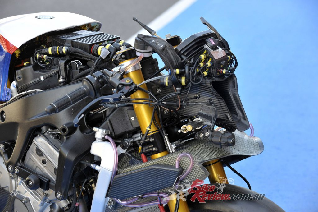 The BMW S 1000 RR throttle-bodies are controlled by a ride-by-wire system that was continually developed throughout the season.