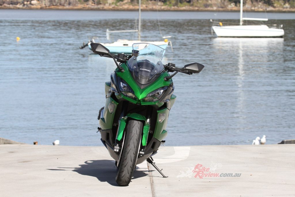 The Ninja 1000 SX has LED lights all-round now, plus a sportier look closer to the ZX-10R and ZX-6R models.