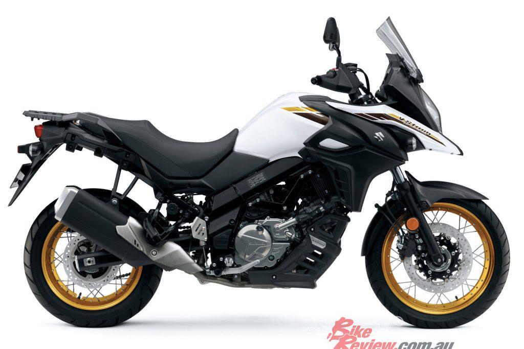 2021 Suzuki V-Strom 650XT in the new Pearl Brilliant White colour.