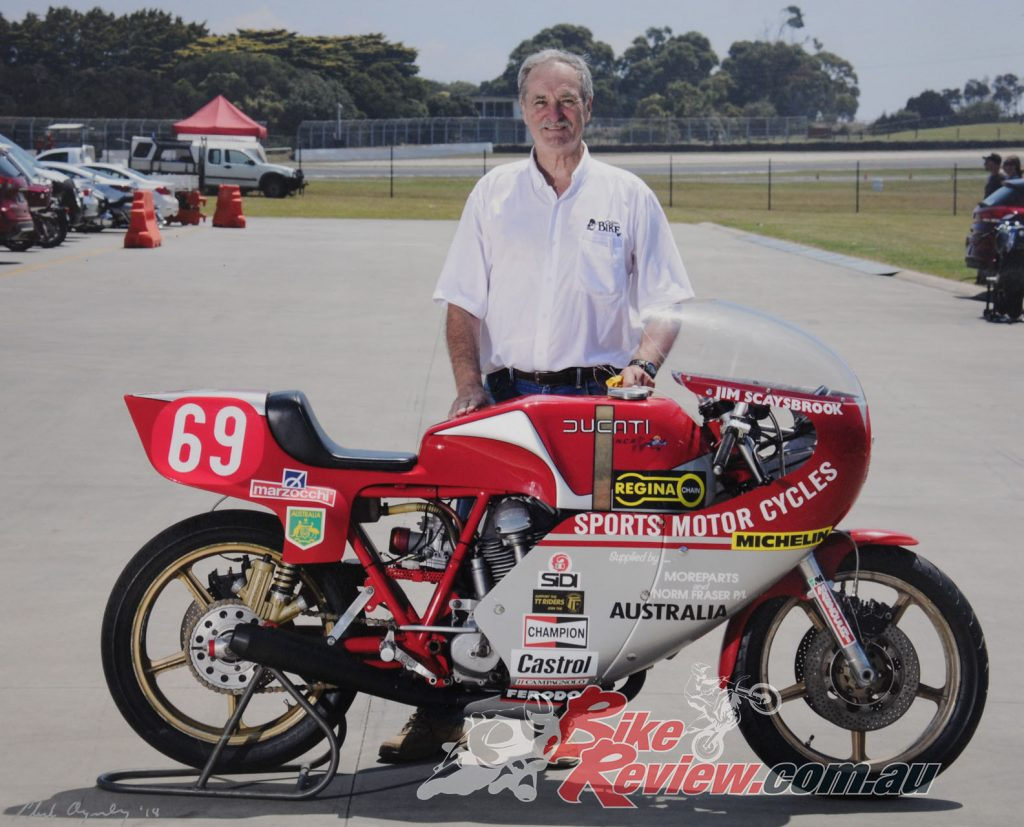 Jim with the Ducati he raced at the 1978 Isle of Man TT. His son, Journalist and Pikes Peak record holder, Rennie Scaysbrook, was due to race a Ducati at the TT this year before COVID-19 put a stop to things...