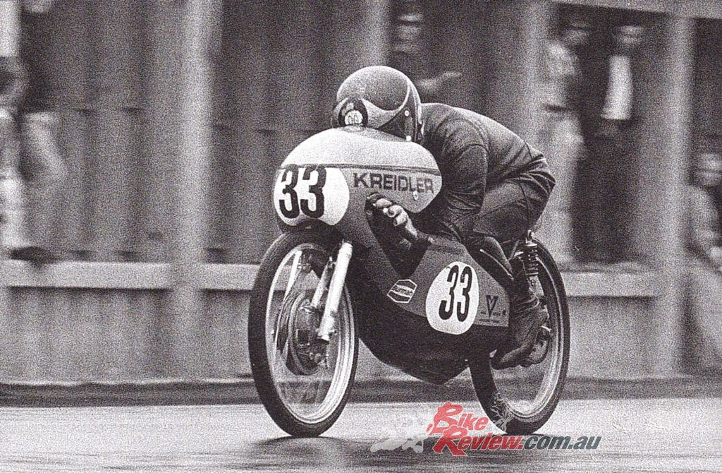 Barry Sheene on his way to a 2.5-minute victory in the 1971 Brno 50cc Grand Prix.