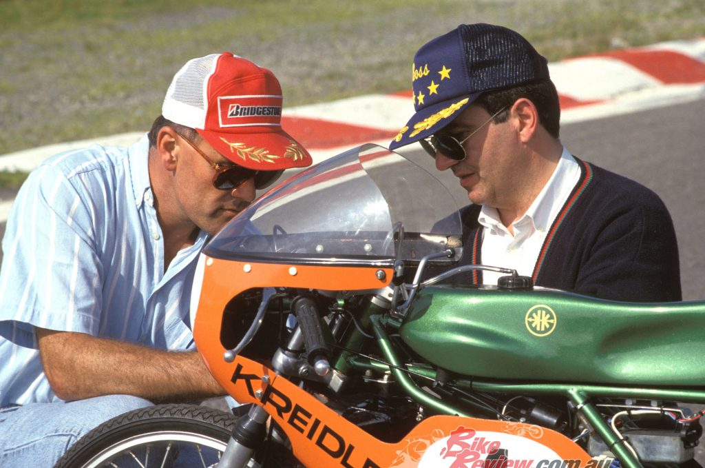 Alan and owner Jean-Marie Compere discuss the finer points of the machine at the 1996 test, held at Spa-Francorchamps.