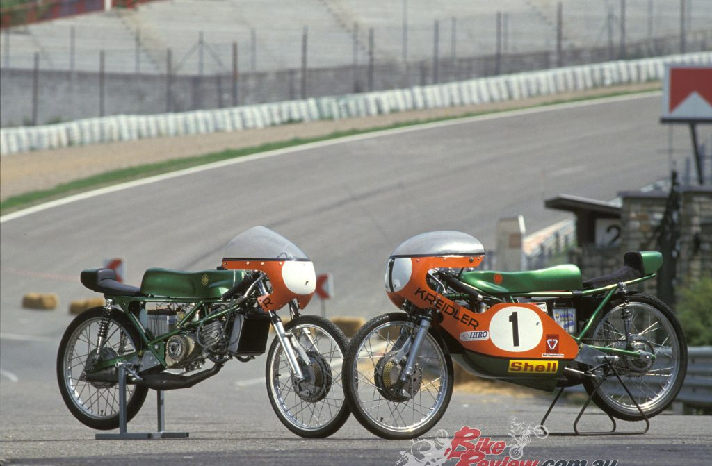 Left, a production 1971 water-cooled Kreidler 50 and, right, the ex-works Jan de Vries 1971 machine.