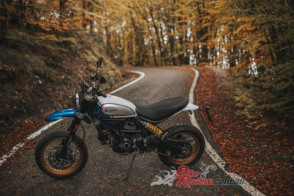 "The Ducati Scrambler Desert Sled changes its look with the adoption of the new ""Sparking Blue"" livery"