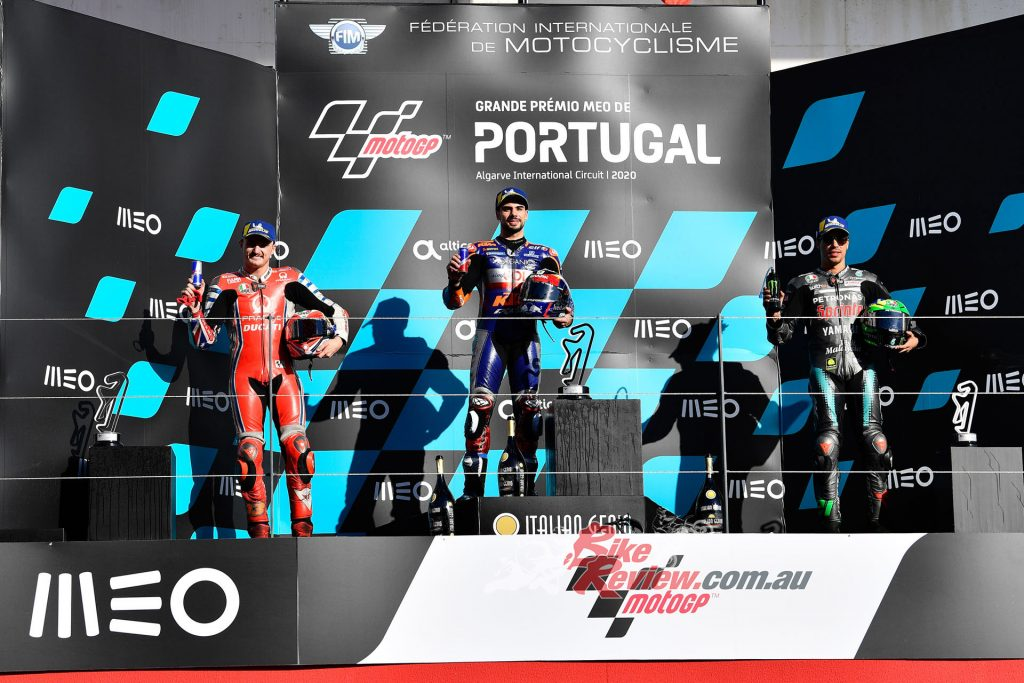 Oliveira on the top step, with Miller second and Morbidelli third.