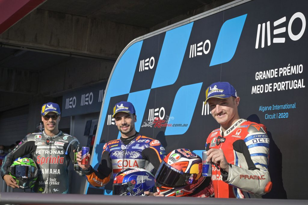 Oliveira, Miller and Morbidelli form the front row. Local hero Oliveira is the first Portuguese rider to take the top step.