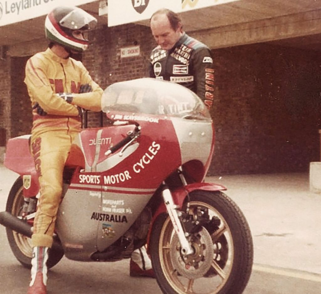 Jim and Mike Hailwood, Donington Park, 1978. Jim partnered Mike at the Isle of Man TT that year, which was the year of Mike Hailwood's famous comeback, when he won his 13th TT race in the Formula One race.