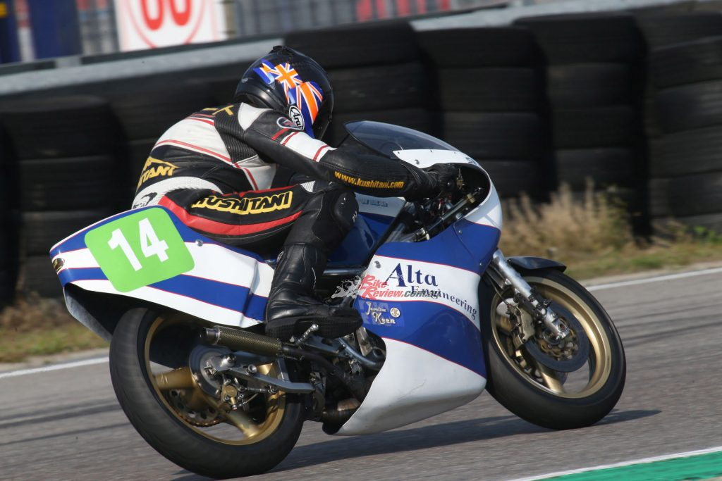 """But the real star of the show is that excellent engine, as evidenced by the fact that in my last couple of laps of my third session on the Bartol I gradually inched closer to a 1990s TZ250""..."