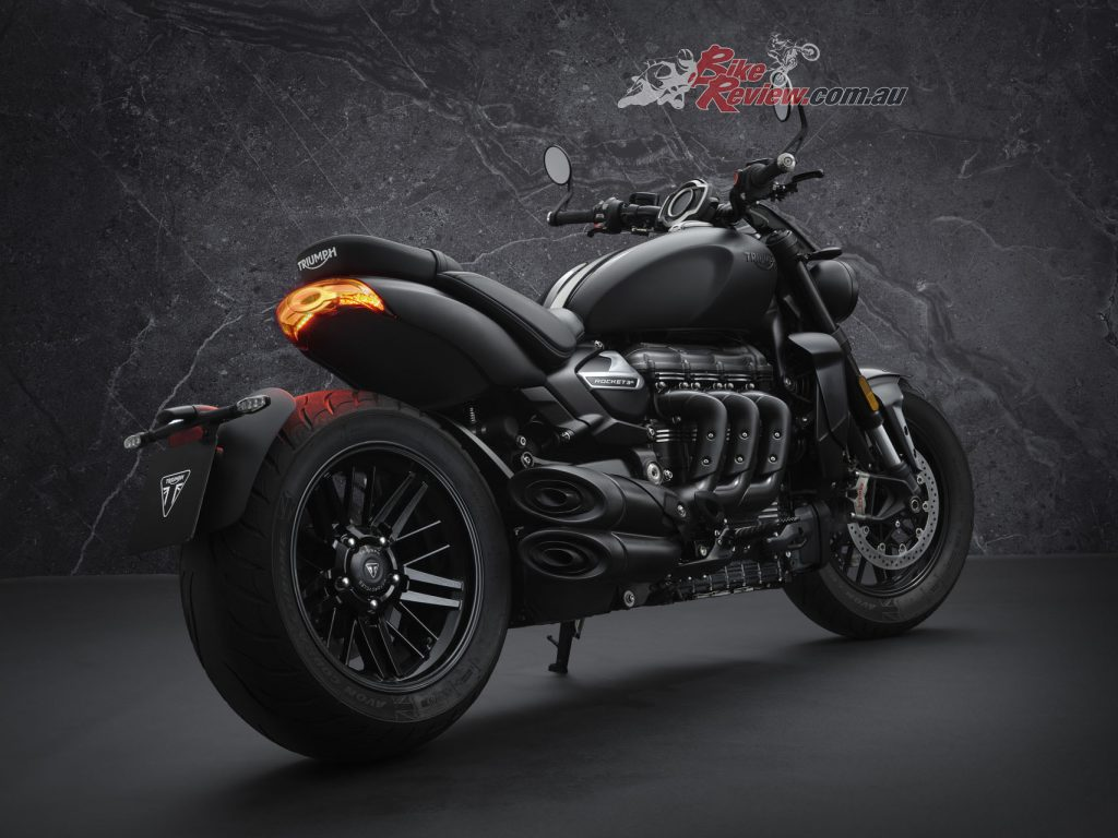 The Rocket 3 R Black takes on a dark and aggressive style with a distinctive matt and gloss all-black paint scheme, with black tank badges and new 'black' branding