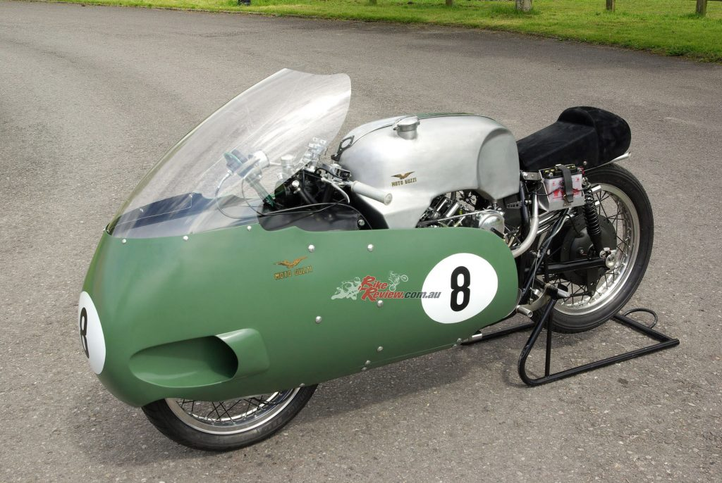 Moto Guzzi built six complete motorcycles carrying the compact water-cooled 500cc V8 engine, weighing an amazing 137kg dry with full streamlining (134kg with partial streamlining), just 5kg heavier than a similarly faired Manx Norton single!