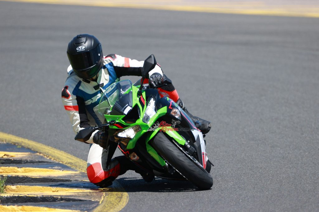 Jeff had loads of fun on the ZX-6R 636 KRT edition at a recent Sydney Motorsports Park Ride Day, comfortably lapping in the 1:43s on the Bridgestone S22 rubber and stock settings.