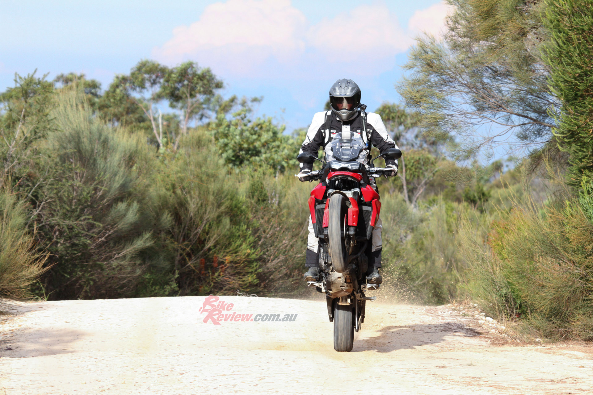 Jeff enjoyed the back-to-basics fun of the 850 Sport and the extra grunt on hand for wheelies!