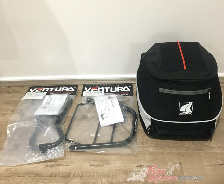 Ventura's EVO-22 Jet Stream Kit offers a new mid-capacity luggage option that suits the mighty Yamaha MT-10.